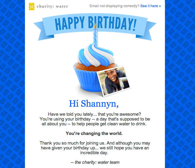 my charity: water birthday