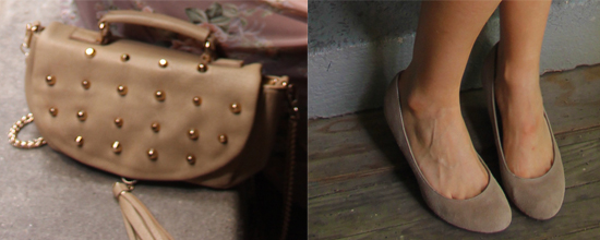Taupe Purse & Suede Wedges
