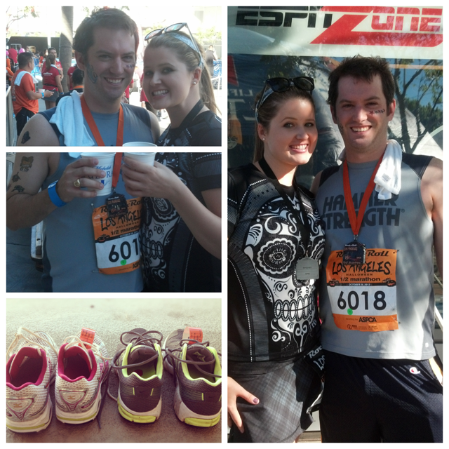 Celebrating our races with the ultimate running rockstar- my BF