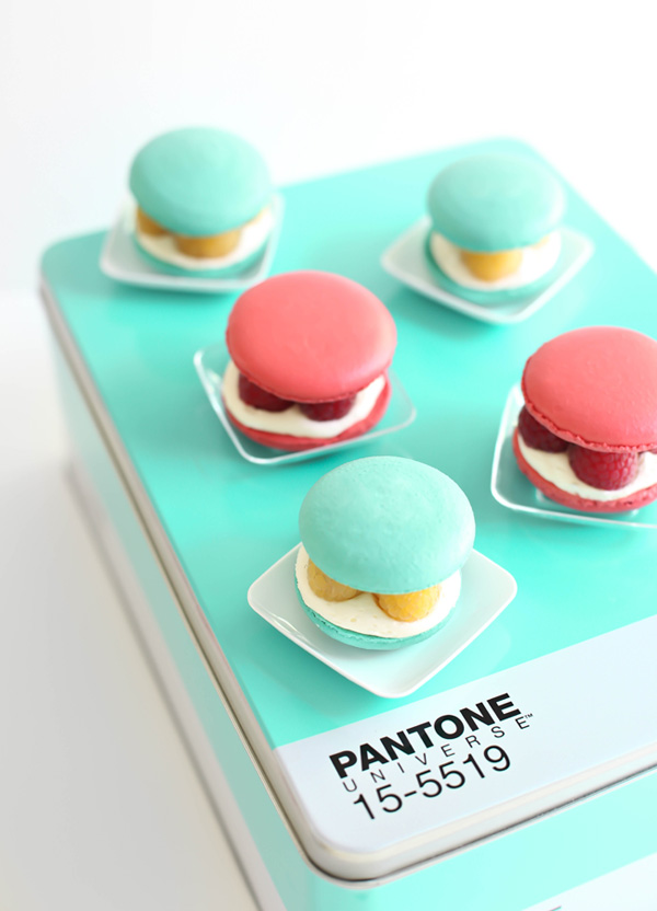 Raspberries and Cream Macarons Pantone SprinkleBakes