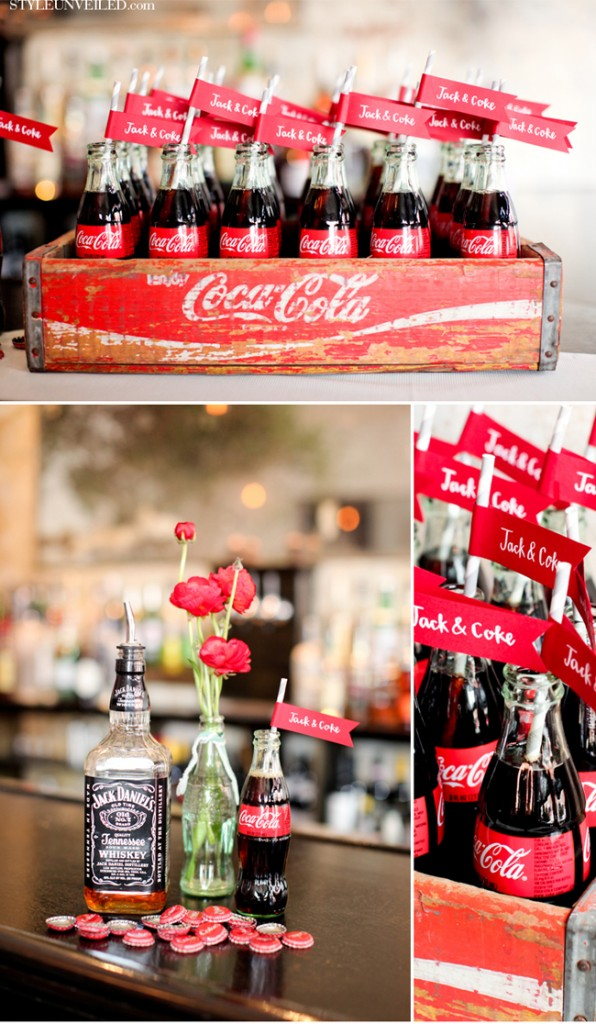 Route 66 wedding ideas vintage coke bottle centerpieces