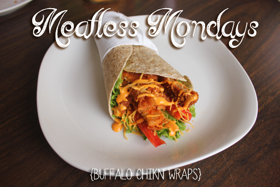 Meatless Monday- Easy Peezy Buffalo Chikn Wraps (Around $5 and 5 Minutes!)