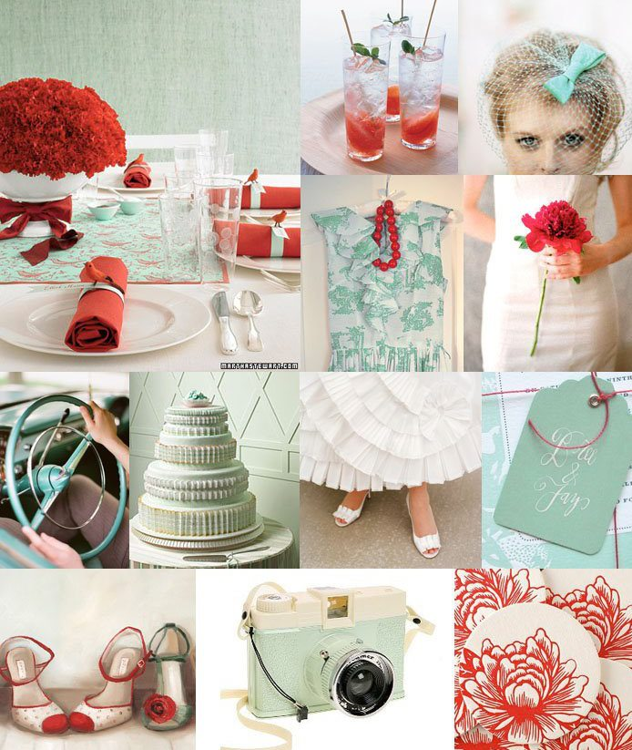 coral & tiffany blue wedding
