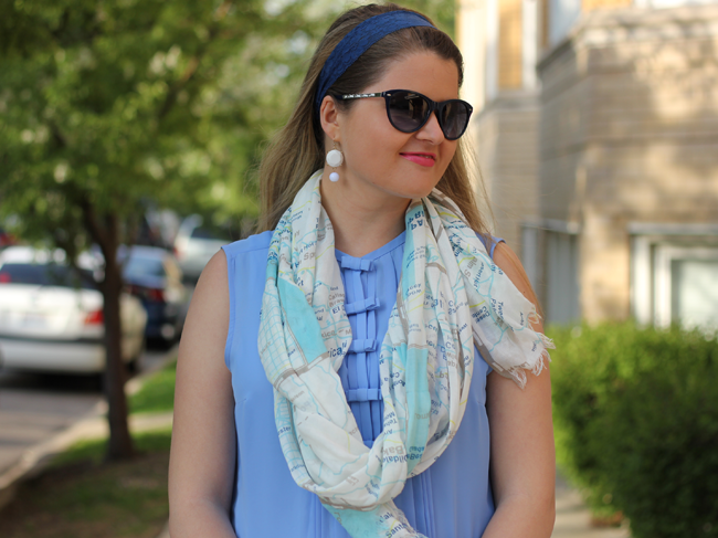 Frugal Fashion- Kate Spade Scarf, Lauren Conrad for Kohls Top, Vera Wang for Kohls Sunglasses