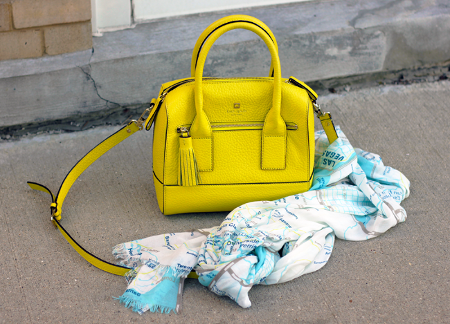 Kate Spade Handbag in Lemon Yellow & SoCal Roadmap Scarf