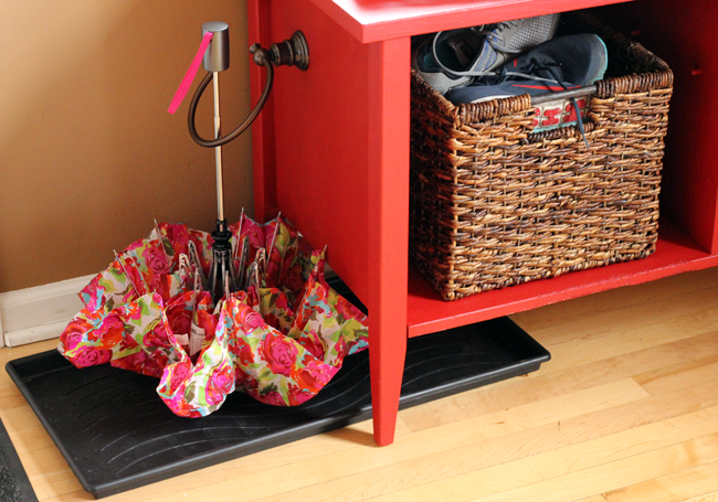 Creating a Faux Mud Room With A TV Stand