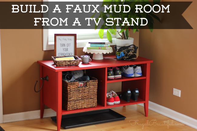 How To Create A Mudroom from An Old TV Stand
