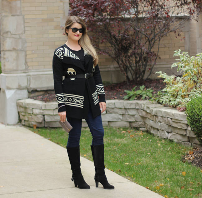 Fall Fashion with DSW- Casual Look with a skull sweater, jeans & boots