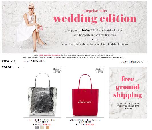 Kate Spade Bridal Surprise Sale