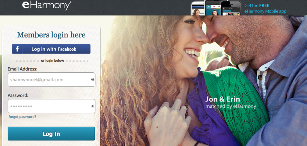Logging into eharmony is a pain
