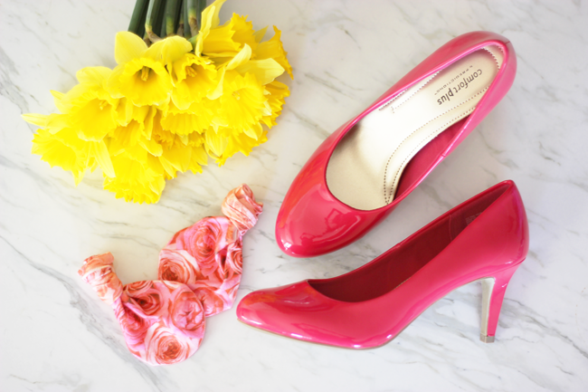 Spring style- lots of bright colors, florals and shiny new pumps! Snagged these at Payless!
