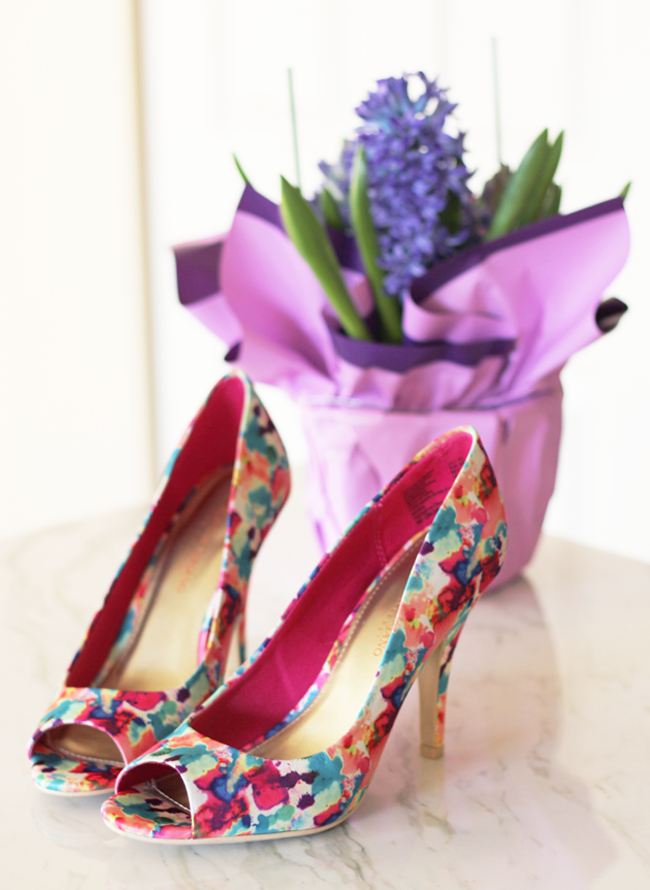 Spring style with Payless ShoeSource…watercolor pumps just pop with color!