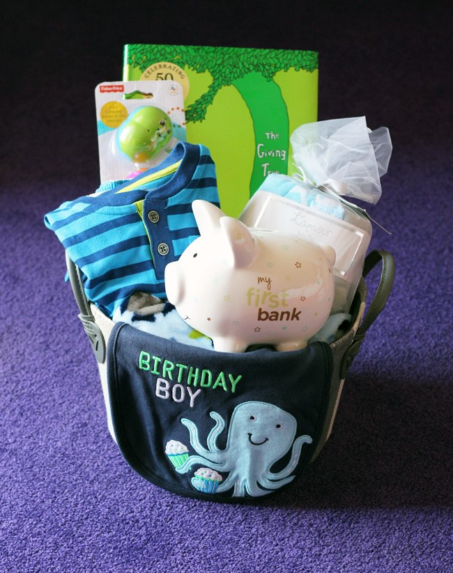 Birthday boy basket for a baby from TJMaxx