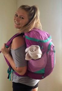 wearing backpack back sized