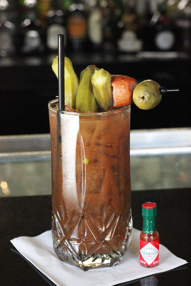 Pickled Okra in a bloody mary at the O Bar in the Hotel Bourbon New Orleans