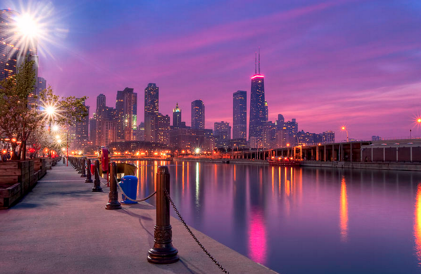 Chicago Pink Skyline Breast Cancer Awareness Month