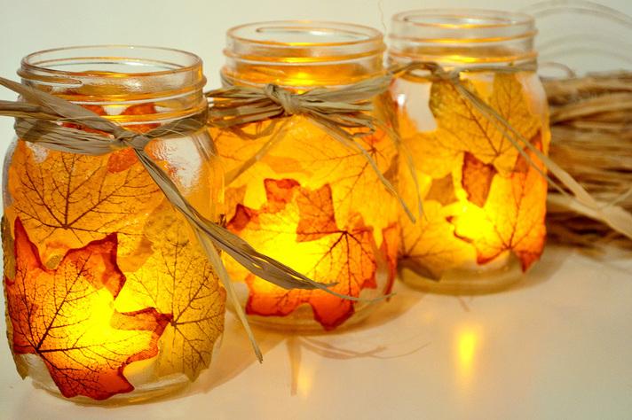 DIY leaf mason jar votive holders