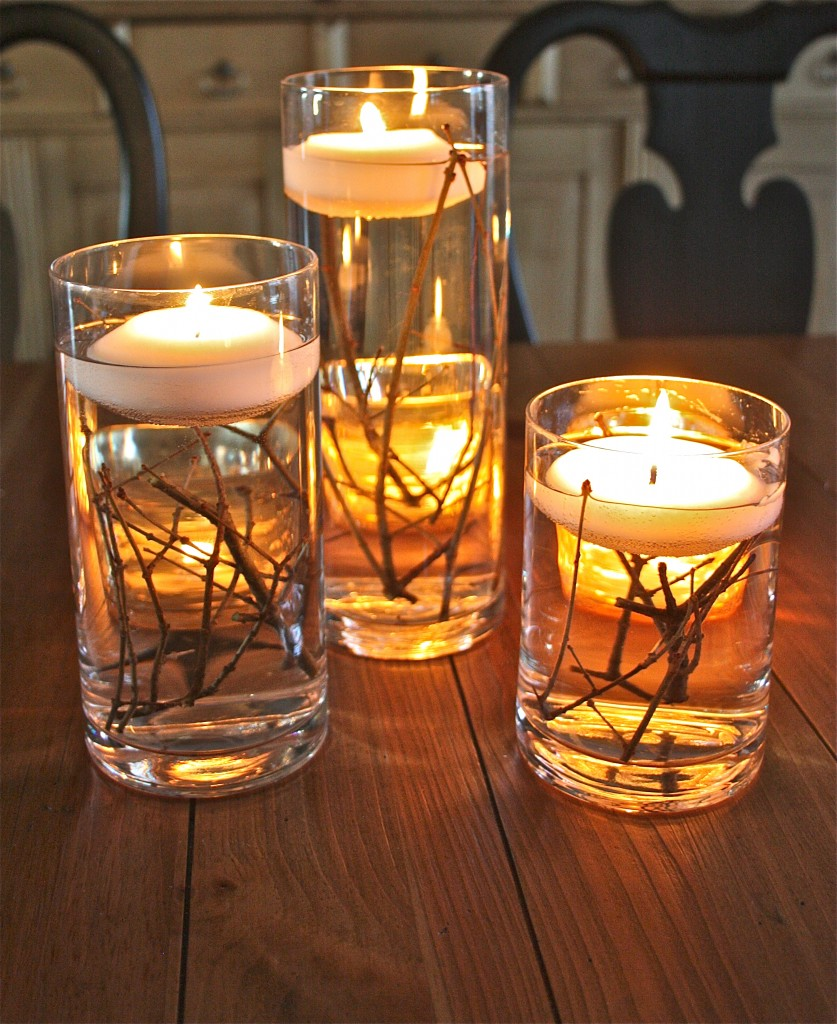 Floating Candle Fall Inexpensive Centerpiece Idea