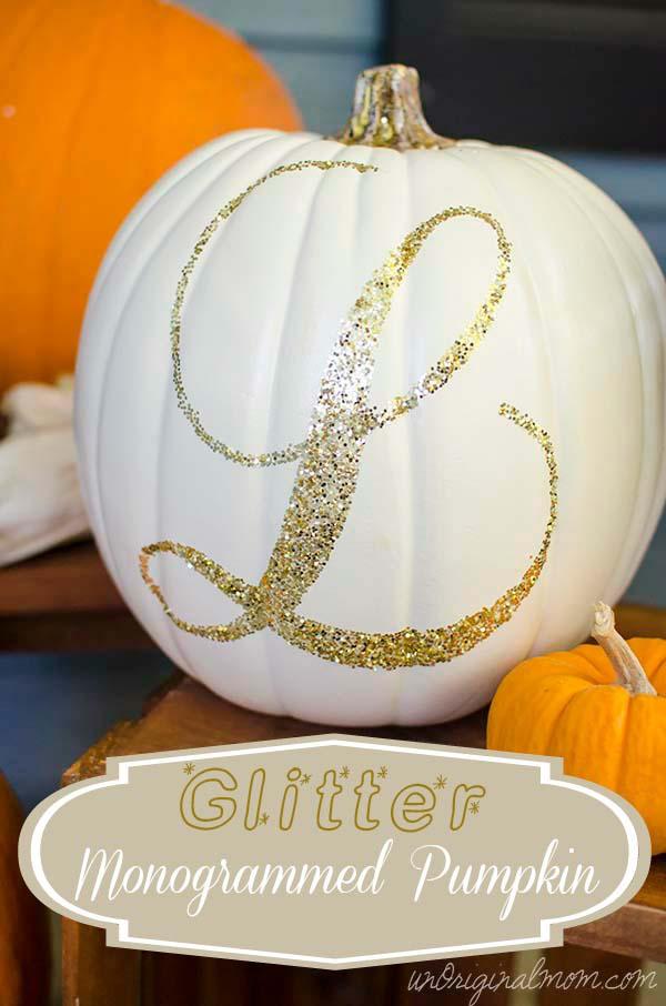 Inexpensive Glitter Pumpkin Centerpiece