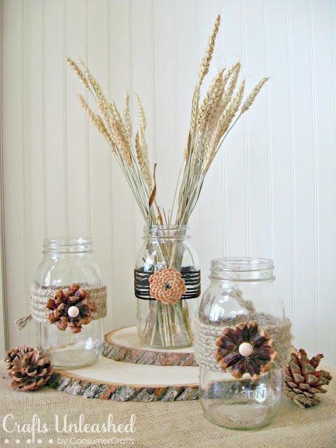 Pine-Cone-Flower-Embellished-Mason-Jars