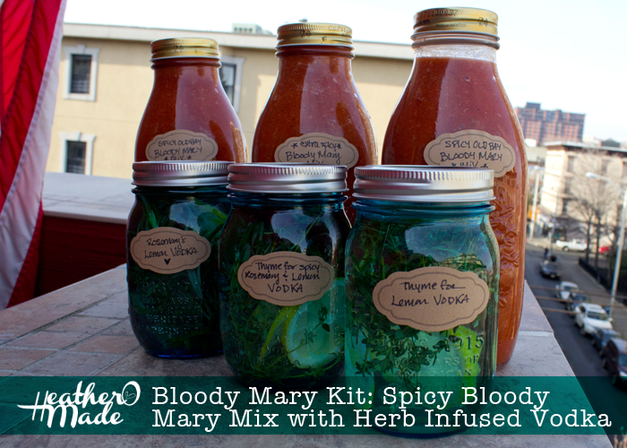 Homemade bloody mary mix with infused vodka mason jar cocktail gift