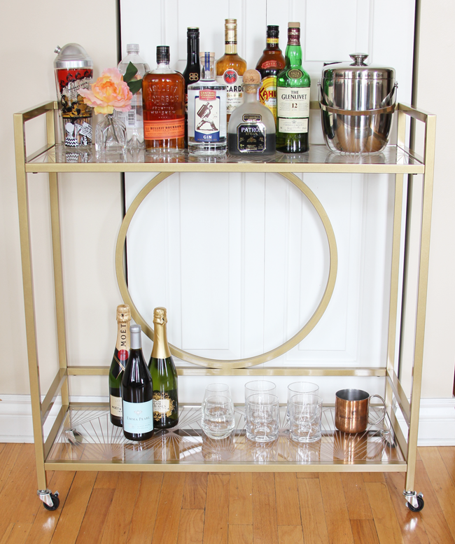 Sauder Gold Luxe Bar Cart