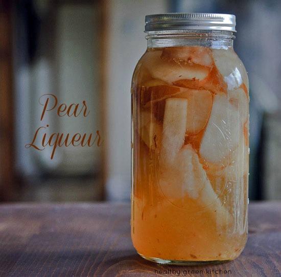 homemade pear mason jar infused liqueur