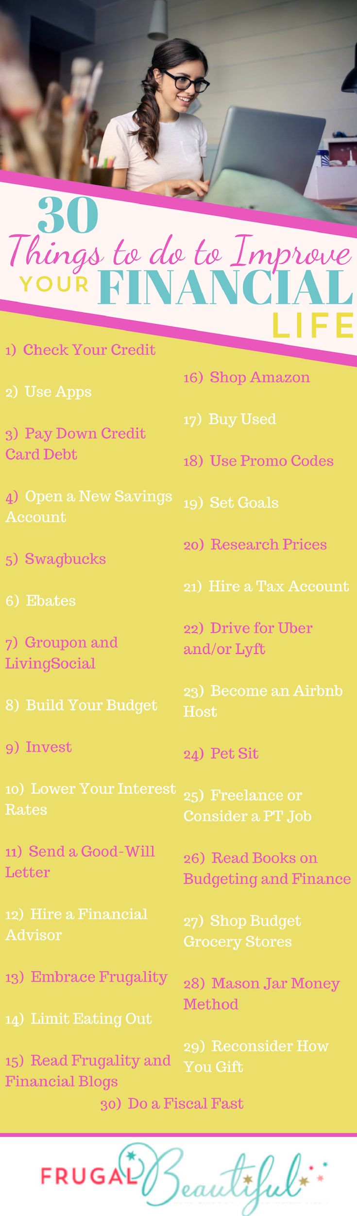 Looking to improve your financial life but confused or overwhelmed on how exactly to do that? Look no further, for our list of 30 ideas has you covered!